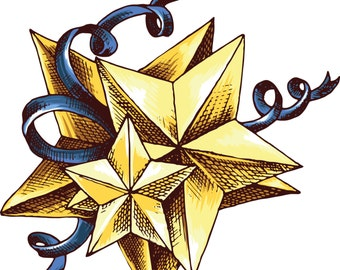 Vector Ornamental Star-Digital Immediate Download-Clipart-Digital-banner-Gift Tag-Gift Cards-Scrapbook.