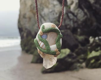 SALE! Beach Lover Clay and Crystal Pendant Necklace
