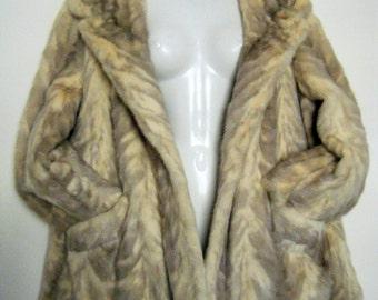 1970s GLAM GENUINE MINK Coat in unusual cream and gray...amazing!!