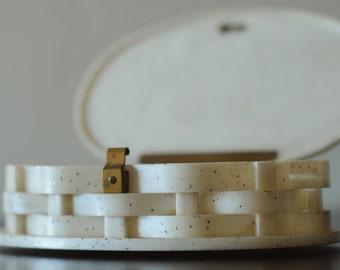 Vintage Pearl Confetti Lucite Clutch Purse-Woven Basket Oval Mid Century Box-Rare!