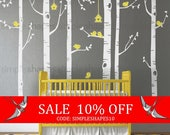 Sale - Birch Tree Birds Wall Sticker Set, Baby Nursery Wall Decals, Nursery Wall Stickers, Tree with Birds Decal, Girls Nursery, Boys Nur...