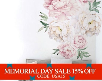 Memorial Day Sale - Peony Flowers Wall Sticker, Vintage Watercolor Peony Wall Stickers - Peel and Stick Removable Stickers