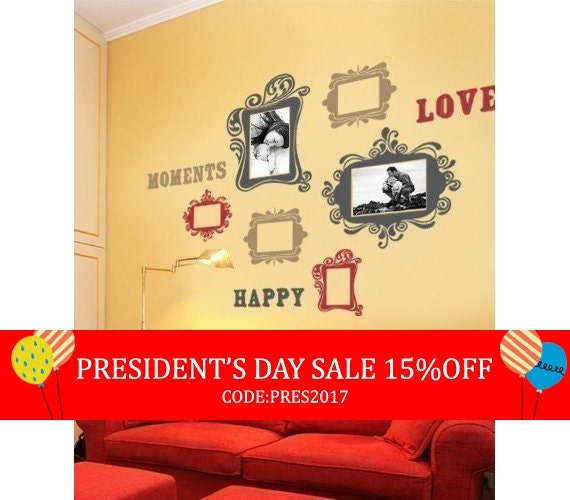 President's Day Sale - Vintage Photo Frames Deluxe Three Color - Vinyl Wall Sticker