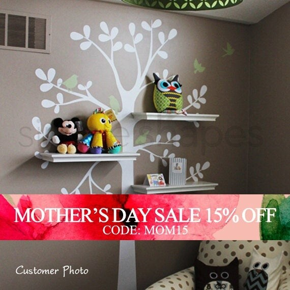 Mothers Day Sale - Wall Decals Baby Nursery Decor: Shelving Tree Decal with Birds - Original Wall Decal