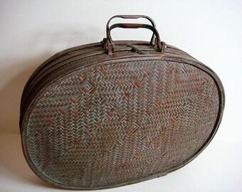 Bamboo Basket Case Patina Copper Clasp Home Decor Case Asian Design Vintage Bamboo Oval