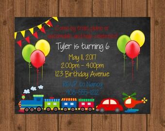 Transportation Birthday Invitation, Trains Planes Automobiles Invitation, Boys Birthday Invitation, Train Car Airplane