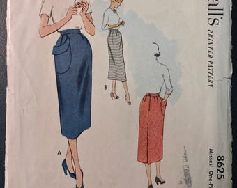 McCall's 1950's Misses' Skirt w/ Hip Pocket Pattern # 8625 - 1951 - Waist 24