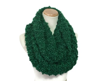 Knit Scarf, Infinity Scarf, Knit Hand Knit Scarf, Knit Cowl, Snood, Neck Warmer Green Scarf Malachite Scarf, Gift For her