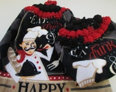 Hanging Kitchen Dish Towels with Crochet Tops Towel Set  Black Red White Chef Kitchen Eat Drink Be Happy Handmade