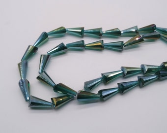 19mm Cone Shaped Green Glass Beads Crystal Beads Faceted Crystal Beads AB Glass AB Crystal
