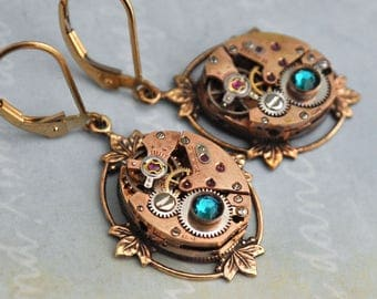 steampunk earrings - FRAGMENTS OF TIME - rose gold 17 jeweled earrings with gold filled ear wires