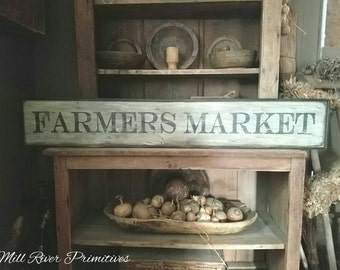 Early looking Antique Primitive FARMERS MARKET Wooden Sign