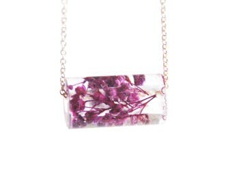 Resin Tube Necklace- Real Purple Dried Flower Necklace- Resin Pendant Necklace- Resin jewelry- Resin Flower Pendant- Purple Flower necklace-