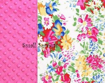 Watercolor Pink/Fuschia Minky Infant Car Seat Cover 5 Piece set
