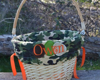 Easter Basket with liners and egg applique  for Girls or Boys Easter Basket Personalized with name NEW This Year Camo