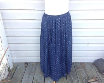 Navy Polka Dotted Calf-length Accordian Pleated Skirt