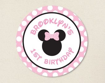 Minnie Mouse Party (Baby Pink) - Minnie Mouse Birthday Stickers - Sheet of 12 or 24