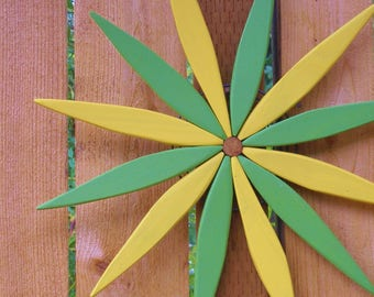 "Brighten up your Outdoor Wall or Fence!  - 17"" Starburst Wooden Wreath - Green and Yellow -  Garden Art handcrafted by Laughing Creek"