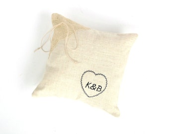Ring bearer pillow, monogrammed pillow, bride groom, personalized pillow, linen and lace, ring pillow