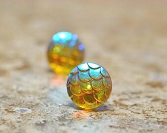 Topaz Mermaid Earrings, Champagne Dragon Scale Whimsical Fantasy Jewelry Waterwaif Jewelry Fish Scales Iridescent Dark Yellow