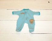 Turquoise and White Striped Footed Sleeper - 12 inch boy doll clothes