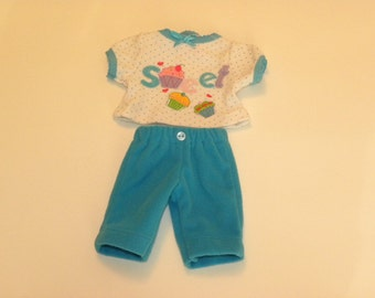 Turquoise Fleece Pants and Polka Dot Tshirt - 12 inch doll clothes