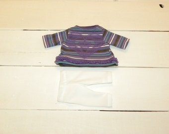 Purple Striped Dress and White Leggings - 12 inch doll clothes