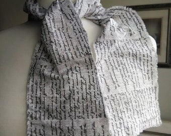 """2 Vintage Inspired Tattered Petite French Script All Cotton Grey White Hand Torn Fabric Ribbon 1"""" 2"""" 3"""" 4"""" 5"""" or 6"""" wide each piece 42"""" long"""