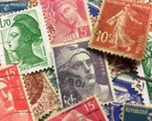 25 French Stamps, Vintage Postage Stamps, Used Stamps, France, Postage Stamps, Craft Stamps