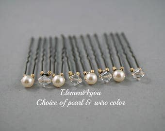 Ivory Crystal hair pins, Bridal Bridesmaid hair do, French Chignon hair pins, Pearls crystals clusters, Set of 8, Silver gold wire, Girl pin