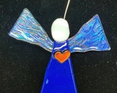 Cobalt Dichroic Fused Glass Angel w Red Dichroic Heart, Art Glass Angel Ornament, Dichroic Glass Angel Christmas Ornament,  Blue Angel