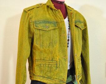 Gold Medium Denim JACKET - Yellow Gold Dyed Upcycled Vintage Unknown Brand Cropped 80s Denim Jacket - Adult Womens Size Medium (42 chest)