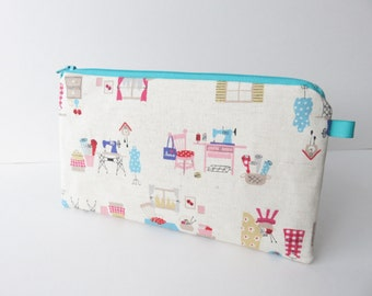 Linen fabric zippered pencil case