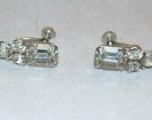 Vintage / Kramer / Sparkling / Clear / Rhinestone / Earrings /Signed / Designer / Screw Back / old jewelry