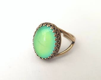 Antique Bronze Mood Ring, Colour Changing Mood Stone Ring, Adjustable Ring, Quality Crown Setting, Also in Sterling Silver, Rose Gold