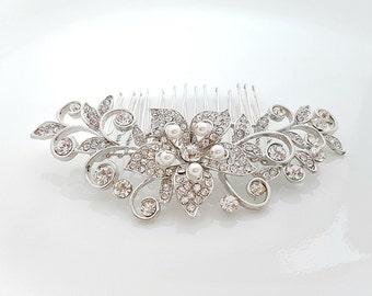 Wedding Crystal Hair Comb Bridal Hair Accessories Rhinestone Hair Comb Crystal Pearl Bridal Haircomb Flower Vintage Style, Kate