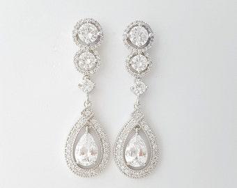 Crystal Bridal Earrings Long Wedding Earrings Bridal Jewelry Cubic Zirconia Drop Earrings Crystal Wedding Jewelry for Bride, Ruth
