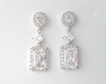 Bridal Earrings Crystal Wedding Earrings Bridal Jewelry Emerald Cut Square Cubic Zirconia Drop Bridal Earrings, Alicia