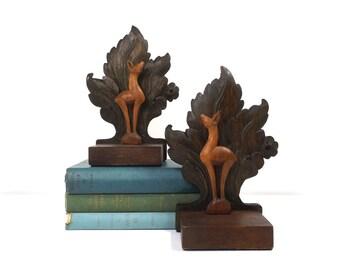 vintage 40s black forest bookends wood deer doe leaf carved carving sculpture figurine figure rustic cabin decorative home decor animal old
