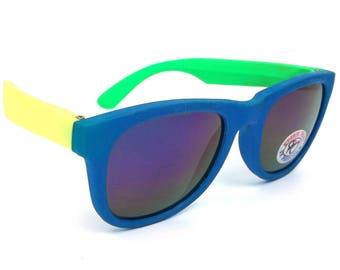 vintage 80s deadstock rubber wayfarer sunglasses sun glasses eyewear oversized retro neon fluorescent day glow blue green yellow revo 147