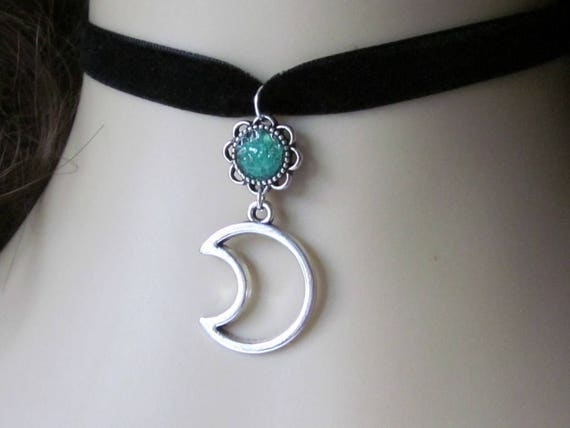 Custom Crescent Moon Choker, Blue Moon Necklace
