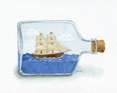 ORIGINAL Ship in a Bottle - Watercolor Painting