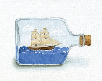 Ship in a Bottle - Original Watercolor Painting