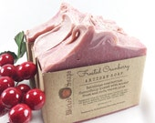 Frosted Cranberry Silk and Shea Artisan Soap - Cold Process Soap, Handmade Soap, Holiday Soap