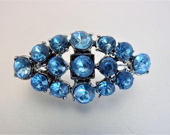 Pretty Vintage Blue Rhinestone Brooch Pin
