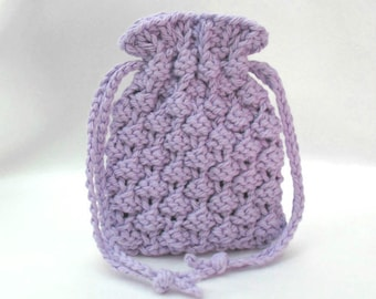 Knitted Soap Bag, Soap Saver, Soap Pouch, Small Drawstring Pouch, Purple Soap Sack