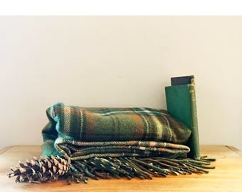 Vintage 100 % Wool  Plaid  Lap Throw Blanket Made in USA For Pendleton Green and Brown Plaid
