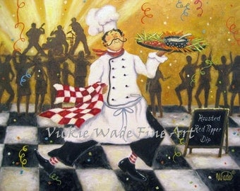 Party Chef ORIGINAL Painting 12X16, fat chefs chef paintings chef prints chef art kitchen, celebration wall decor, canvas,  Vickie Wade art
