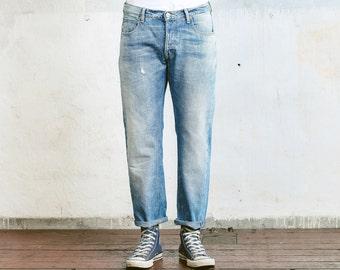 Ripped Jeans . Vintage LEE Jeans Straight Leg 80s Denim Jeans Blue Relaxed Fit W33 Men's Distressed Jeans Boyfriend Denim Stonewashed