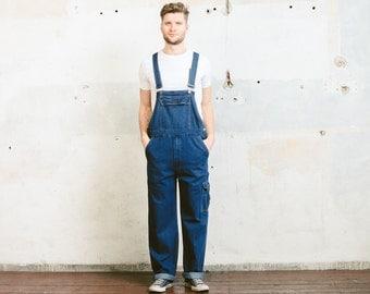 Vintage 80s DENIM Dungarees . Jeans OVERALLS Men's Jumpsuit 1980s Blue Garage Car Mechanic Super Mario Outerwear . size Medium M